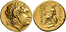 KINGS OF THRACE. Lysimachos, 305-281 BC. Stater (Gold, 19 mm, 8.52 g, 12 h), Kalchedon, circa 205-190. Diademed head of Alexander the Great to right w...