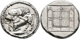 MACEDON. Akanthos. Circa 470-430 BC. Tetradrachm (Silver, 27 mm, 17.23 g, 11 h). Lion right, attacking a bull collapsing to left with upraised head; i...