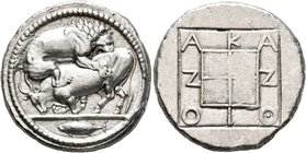 MACEDON. Akanthos. Circa 470-430 BC. Tetradrachm (Silver, 28 mm, 17.30 g, 6 h). Lion right, attacking a bull collapsing to left; in exergue, tunny swi...