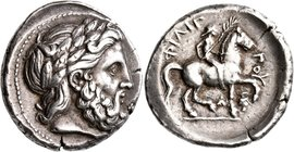KINGS OF MACEDON. Philip II, 359-336 BC. Tetradrachm (Silver, 27 mm, 14.52 g, 4 h), Amphipolis, struck under Philip II or Alexander III, circa 342/1-3...