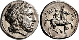 KINGS OF MACEDON. Philip II, 359-336 BC. Tetradrachm (Silver, 24 mm, 14.36 g, 1 h), Amphipolis, struck under Antipater, Polyperchon, or Kassander, cir...