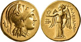 KINGS OF MACEDON. Alexander III 'the Great', 336-323 BC. Stater (Gold, 18 mm, 8.64 g, 12 h), 'Amphipolis', struck under Kassander, circa 310-301. Head...