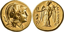 KINGS OF MACEDON. Alexander III 'the Great', 336-323 BC. Stater (Gold, 18 mm, 8.58 g, 7 h), uncertain mint in Greece or Macedonia, circa 310-300/275. ...