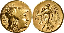 KINGS OF MACEDON. Alexander III 'the Great', 336-323 BC. Stater (Gold, 18 mm, 8.64 g, 12 h), Abydos (?), struck under Antigonos I Monophthalmos, circa...