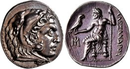 KINGS OF MACEDON. Alexander III 'the Great', 336-323 BC. Drachm (Silver, 20 mm, 4.30 g, 1 h), Miletos, circa 295-275. Head of Herakles to right, weari...