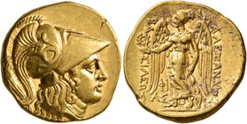 KINGS OF MACEDON. Alexander III 'the Great', 336-323 BC. Stater (Gold, 18 mm, 8.59 g, 9 h), uncertain mint in Cilicia ('Side'), struck under Philoxeno...