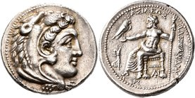 KINGS OF MACEDON. Alexander III 'the Great', 336-323 BC. Tetradrachm (Silver, 28 mm, 17.26 g, 2 h), Tarsos, struck under Philotas or Philoxenos, 323-3...