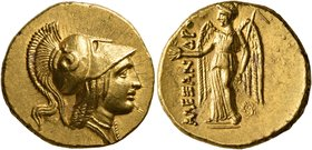 KINGS OF MACEDON. Alexander III 'the Great', 336-323 BC. Stater (Gold, 19 mm, 8.61 g, 12 h), Arados or Tarsos (?), circa 325/4-324/3. Head of Athena t...