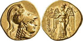 KINGS OF MACEDON. Alexander III 'the Great', 336-323 BC. Stater (Gold, 18 mm, 8.60 g, 9 h), Tarsos, struck under Balakros or Menes, circa 332/1-328/7....