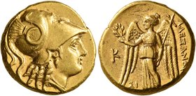 KINGS OF MACEDON. Alexander III 'the Great', 336-323 BC. Stater (Gold, 18 mm, 8.55 g, 12 h), Sidon, struck under Menes, RY 10 of Abdalonymos = 324/3. ...