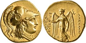 KINGS OF MACEDON. Alexander III 'the Great', 336-323 BC. Stater (Gold, 19 mm, 8.59 g, 7 h), Babylon I, struck under Seleukos I, circa 311-300. Head of...