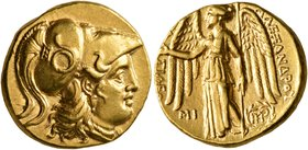 KINGS OF MACEDON. Alexander III 'the Great', 336-323 BC. Stater (Gold, 17 mm, 8.61 g, 1 h), Babylon I, struck under Seleukos I, circa 311-300. Head of...