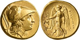 KINGS OF MACEDON. Philip III Arrhidaios, 323-317 BC. Stater (Gold, 18 mm, 8.59 g, 1 h), Abydos (?), struck under Antigonos I Monophthalmos. Head of At...