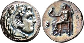 KINGS OF MACEDON. Philip III Arrhidaios, 323-317 BC. Drachm (Silver, 17 mm, 4.22 g, 1 h), Side, struck under Antigonos I Monophthalmos, circa 320-317/...