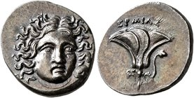KINGS OF MACEDON. Perseus, 179-168 BC. Drachm (Silver, 17 mm, 2.63 g, 5 h), pseudo-Rhodian issue, uncertain mint in Thessaly. Hermias, magistrate, cir...