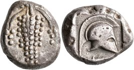 ISLANDS OFF THESSALY, Peparethos. Circa 500 BC. Tetradrachm (Silver, 24 mm, 16.51 g, 10 h), Attic standard. Triple grape-cluster. Rev. Crested Corinth...