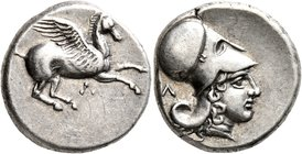 AKARNANIA. Leukas. Circa 350-320 BC. Stater (Silver, 20 mm, 8.57 g, 2 h). Λ Pegasus flying right. Rev. Head of Athena to right, wearing Corinthian hel...