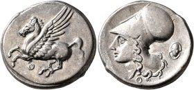 AKARNANIA. Thyrrheion. Circa 320-280 BC. Stater (Silver, 22 mm, 8.56 g, 12 h). Θ Pegasus flying left. Rev. Head of Athena to left, wearing Corinthian ...