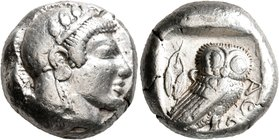ATTICA. Athens. Circa 479/8-475 BC. Tetradrachm (Silver, 21 mm, 17.19 g, 4 h). Head of Athena to right, wearing crested Attic helmet decorated with fo...