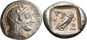ATTICA. Athens. Circa 475-465 BC. Tetradrachm (Silver, 25 mm, 17.17 g, 7 h). Head of Athena to right, wearing crested Attic helmet decorated with thre...