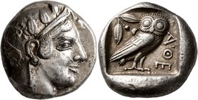 ATTICA. Athens. Circa 475-465 BC. Tetradrachm (Silver, 22 mm, 17.16 g, 11 h). Head of Athena to right, wearing crested Attic helmet decorated with thr...