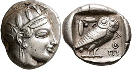 ATTICA. Athens. Circa 460-455 BC. Tetradrachm (Silver, 25 mm, 17.15 g, 8 h). Head of Athena to right, wearing crested Attic helmet decorated with thre...
