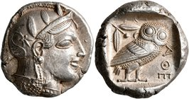 ATTICA. Athens. Circa 455-449 BC. Tetradrachm (Silver, 25 mm, 17.14 g, 10 h). Head of Athena to right, wearing crested Attic helmet decorated with thr...