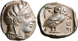 ATTICA. Athens. Circa 455-449 BC. Tetradrachm (Silver, 24 mm, 17.19 g, 10 h). Head of Athena to right, wearing crested Attic helmet decorated with thr...