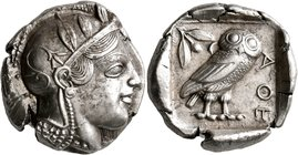 ATTICA. Athens. Circa 440s BC. Tetradrachm (Silver, 25 mm, 17.21 g, 11 h). Head of Athena to right, wearing crested Attic helmet decorated with three ...