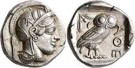 ATTICA. Athens. Circa 430s BC. Tetradrachm (Silver, 24 mm, 17.21 g, 10 h). Head of Athena to right, wearing crested Attic helmet decorated with three ...