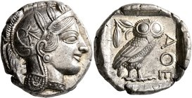 ATTICA. Athens. Circa 430s-420s BC. Tetradrachm (Silver, 24 mm, 17.20 g, 10 h). Head of Athena to right, wearing crested Attic helmet decorated with t...