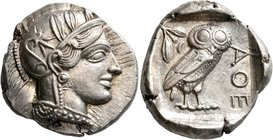 ATTICA. Athens. Circa 430s-420s BC. Tetradrachm (Silver, 25 mm, 17.19 g, 1 h). Head of Athena to right, wearing crested Attic helmet decorated with th...