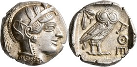 ATTICA. Athens. Circa 430s-420s BC. Tetradrachm (Silver, 24 mm, 17.21 g, 1 h). Head of Athena to right, wearing crested Attic helmet decorated with th...