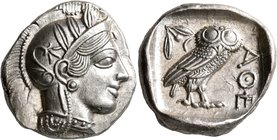 ATTICA. Athens. Circa 430s-420s BC. Tetradrachm (Silver, 27 mm, 17.24 g, 11 h). Head of Athena to right, wearing crested Attic helmet decorated with t...
