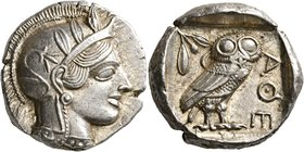 ATTICA. Athens. Circa 430s-420s BC. Tetradrachm (Silver, 25 mm, 17.24 g, 2 h). Head of Athena to right, wearing crested Attic helmet decorated with th...