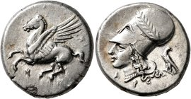 CORINTHIA. Corinth. Circa 375-300 BC. Stater (Silver, 21 mm, 8.61 g, 1 h). Ϙ Pegasus flying left. Rev. Head of Athena to left, wearing laureate Corint...