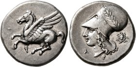 CORINTHIA. Corinth. Circa 375-300 BC. Stater (Silver, 21 mm, 8.55 g, 12 h). Ϙ Pegasus flying left. Rev. Head of Athena to left, wearing laureate Corin...