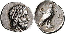 ELIS. Olympia. Circa 260s-250s BC. Hemidrachm (Silver, 16 mm, 2.69 g, 10 h). Laureate head of Zeus to right. Rev. F - A Eagle, with closed wings, stan...