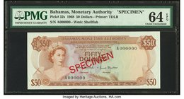Bahamas Monetary Authority 50 Dollars 1968 Pick 32s Specimen PMG Choice Uncirculated 64 EPQ.   HID09801242017