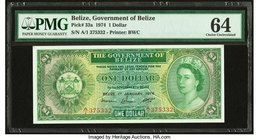 Belize Government of Belize 1 Dollar 1.1.1974 Pick 33a PMG Choice Uncirculated 64. Previously mounted.  HID09801242017