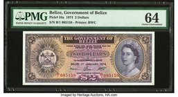 Belize Government of Belize 2 Dollars 1.1.1974 Pick 34a PMG Choice Uncirculated 64. Previously mounted.  HID09801242017