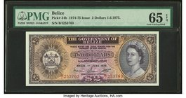 Belize Government of Belize 2 Dollars 1.6.1975 Pick 34b PMG Gem Uncirculated 65 EPQ.   HID09801242017
