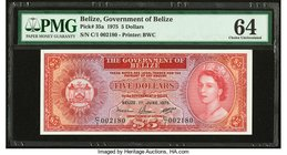 Belize Government of Belize 5 Dollars 1.6.1975 Pick 35a PMG Choice Uncirculated 64. Great embossing.  HID09801242017