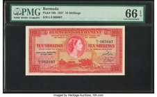 Bermuda Bermuda Government 10 Shillings 1.5.1957 Pick 19b PMG Gem Uncirculated 66 EPQ.   HID09801242017