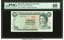 Bermuda Monetary Authority 20 Dollars 1.4.1974 Pick 31a PMG Extremely Fine 40. Previously mounted.  HID09801242017