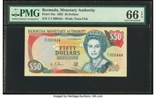 Bermuda Monetary Authority 50 Dollars 12.10.1992 Pick 44a PMG Gem Uncirculated 66 EPQ.   HID09801242017