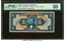 Brazil Thesouro Nacional 1 Mil Reis ND (1919) Pick 6 PMG Very Fine 30. Previously mounted.  HID09801242017