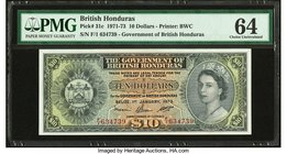 British Honduras Government of British Honduras 10 Dollars 1.1.1973 Pick 31c PMG Choice Uncirculated 64.   HID09801242017