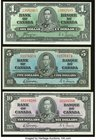 Canada Bank of Canada $1; $5; $10 1937 BC-21d; BC-23b; BC-24b About Uncirculated.   HID09801242017