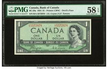 "Canada Bank of Canada $1 1954 BC-29a ""Devil's Face"" PMG Choice About Unc 58 EPQ.   HID09801242017"